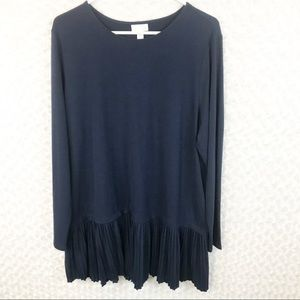 New J. Jill Navy Blue Long Sleeve Pleated Dress